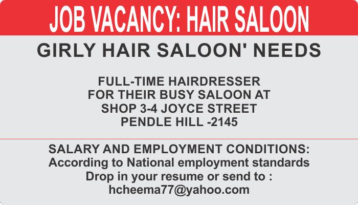 GIRLY HAIR SALOON' NEEDS  FULL-TIME HAIRDRESSER