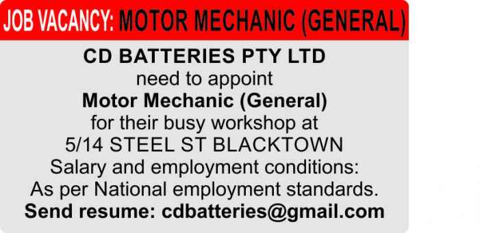 Job Vacancy: Motor Mechanic (General)