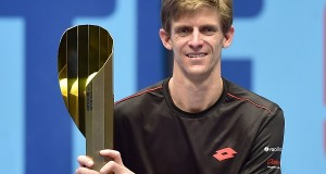 South Africa's Kevin Anderson, winner of the final match against Kei Nishikori of Japan, poses with trophy at the Open ATP Tennis Tournament in Vienna, Austria.