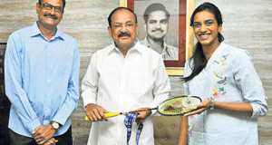 Badminton player PV Sindhu calls on Vice-President M Venkaiah Naidu, in Hyderabad, Monday, Dec. 24, 2018. Sindhu's father and former volleyball player PV Ramana is also seen.