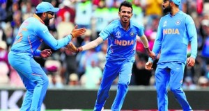 Southampton: India's Yuzvendra Chahal, center, celebrates the dismissal of South Africa's Rassie van der Dussen during the Cricket World Cup match between South Africa and India at the Hampshire Bowl in Southampton, England, Wednesday,